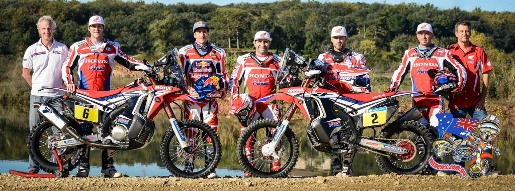Team HRC Dakar 2016 - Paulo Gonçalves (Portugal), Joan Barreda (Spain), Michael Metge (France), Ricky Brabec (USA) and Paolo Ceci (Italy)