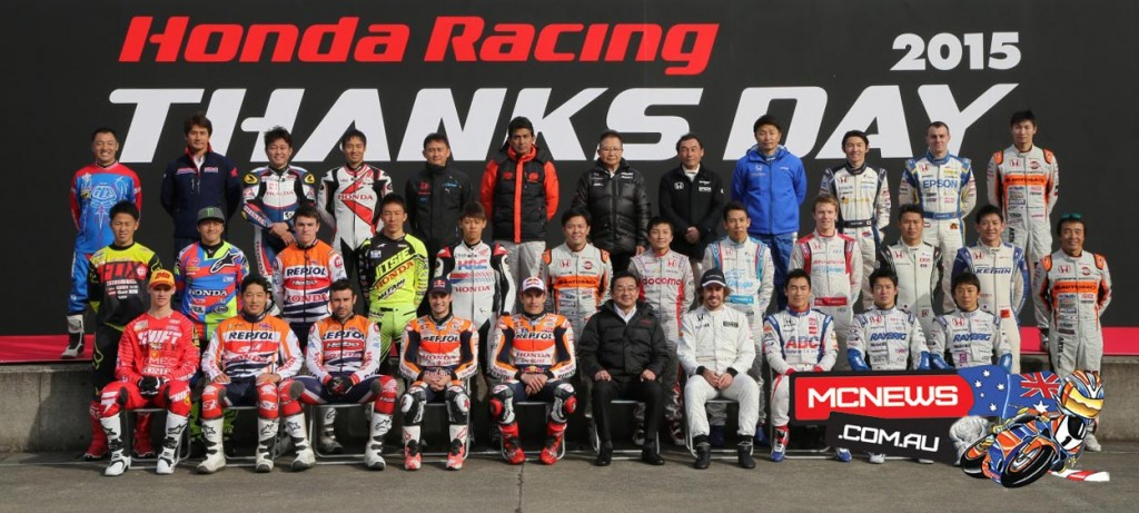 Marc Marquez and Dani Pedrosa were joined by Formula 1 star Fernando Alonso and ex-F1 pilot Takuma Sato (now Indy Car series), Toni Bou, Takashisa Fujinami, Jaime Busto, Takumi Takahashi (Suzuka 8 hours Japan Superbike Championship), Hiroshi Aoyama and Kosuke Akiyoshi (HRC Test Riders), and ten drivers from the Super GT series (GT500) National Championship Super Formula.
