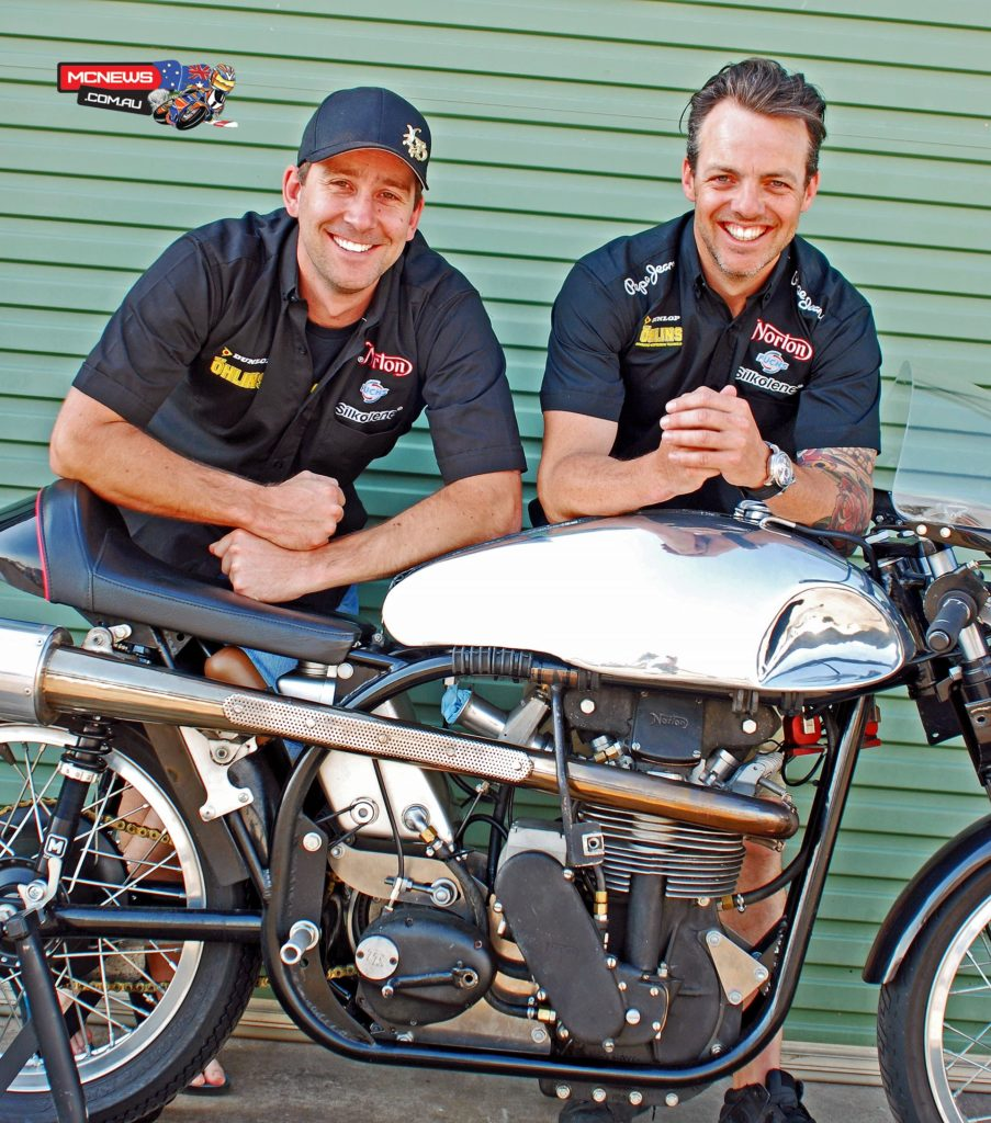 "Davo Johnson (Left) and Cameron Donald with a classic Norton ""featherbed"" racer"
