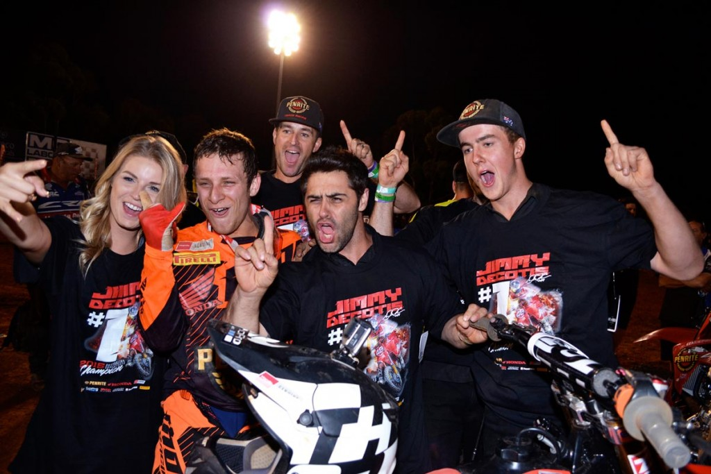 American ace Jimmy Decotis fought back from a first turn crash to clinch the SX2 class of the 2015 Penrite Oils Australian Supercross Championships presented by Ryco Filters for the Penrite Honda Racing team.