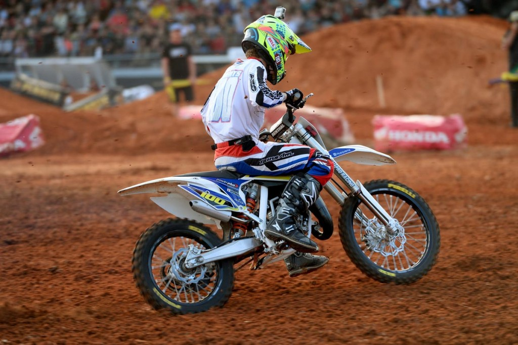 Husqvarna racer Jy Roberts wrapped up the Australian Junior Supercross Championship (85/150cc) with a perfect score at the final round in Melbourne. Pic: Jeff Crow
