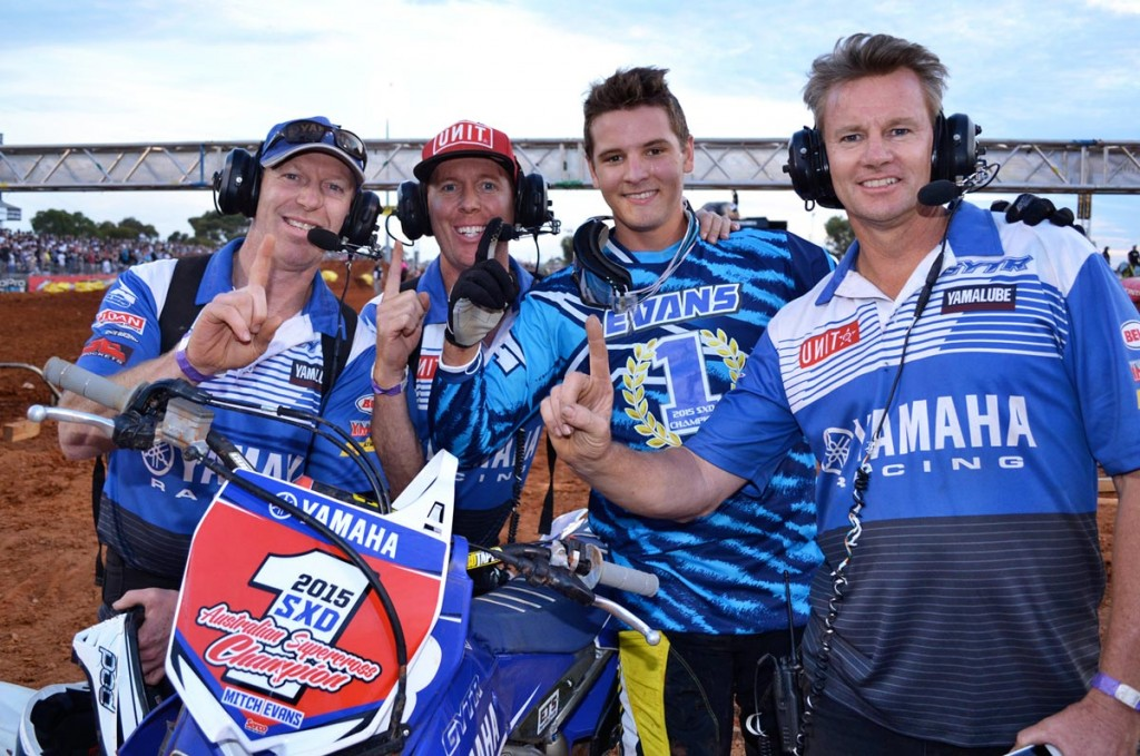 Winners are grinners as Mitch Evans and the GYTR Yamaha team celebrate winning the SXD class of the 2015 Penrite Oils Australian Supercross Championships presented by Ryco Filters.