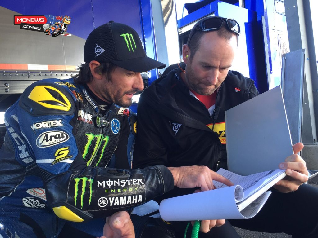 Monster Energy Graves Yamaha's Josh Hayes talks tyres with Dunlop development engineer Tom Grolman during a two-day test at Thunderhill Raceway. Photo By Paul Carruthers.