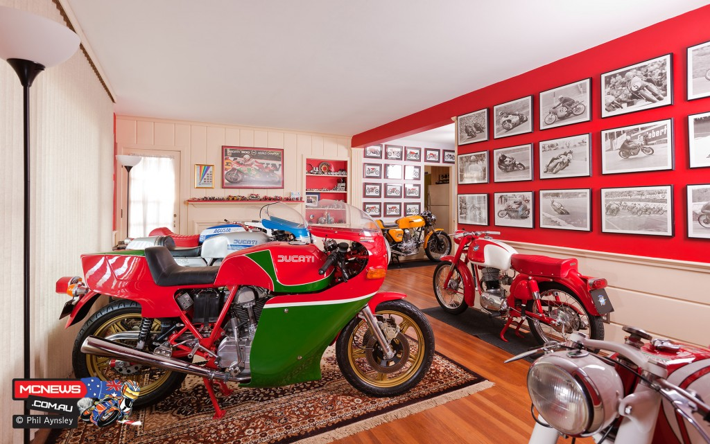 Peter's lounge room. The wife moved out, the bikes moved in! By Phil Aynsley