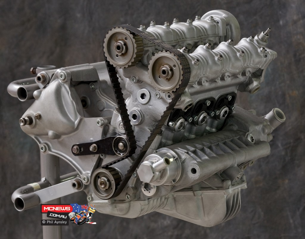 Ducati Factory, Bologna, Italy - Water-cooled, belt driven DOHC triple-cylinder 350 Ducati - By Phil Aynsley