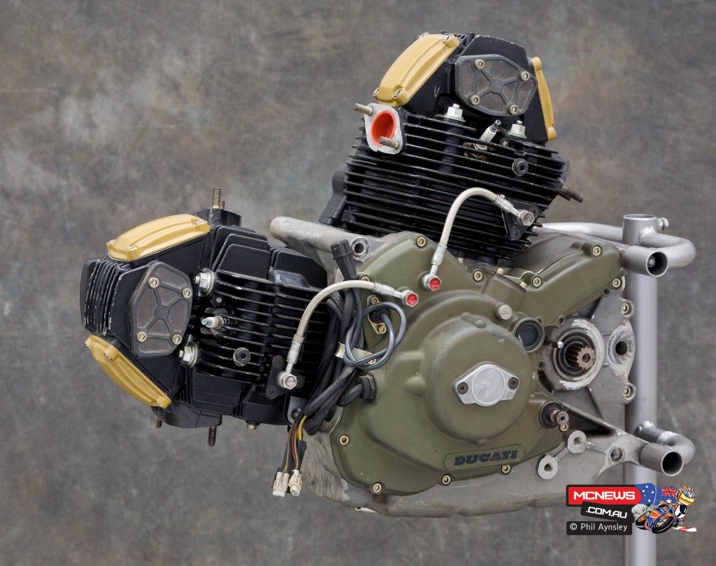 Ducati Factory, Bologna, Italy - Ducati engine for Cagiva Elefant mtoor, this is a 904cc engine from 1990, the year Edi Orioli won the Paris-Dakar on a Cagiva Elefant - By Phil Aynsley