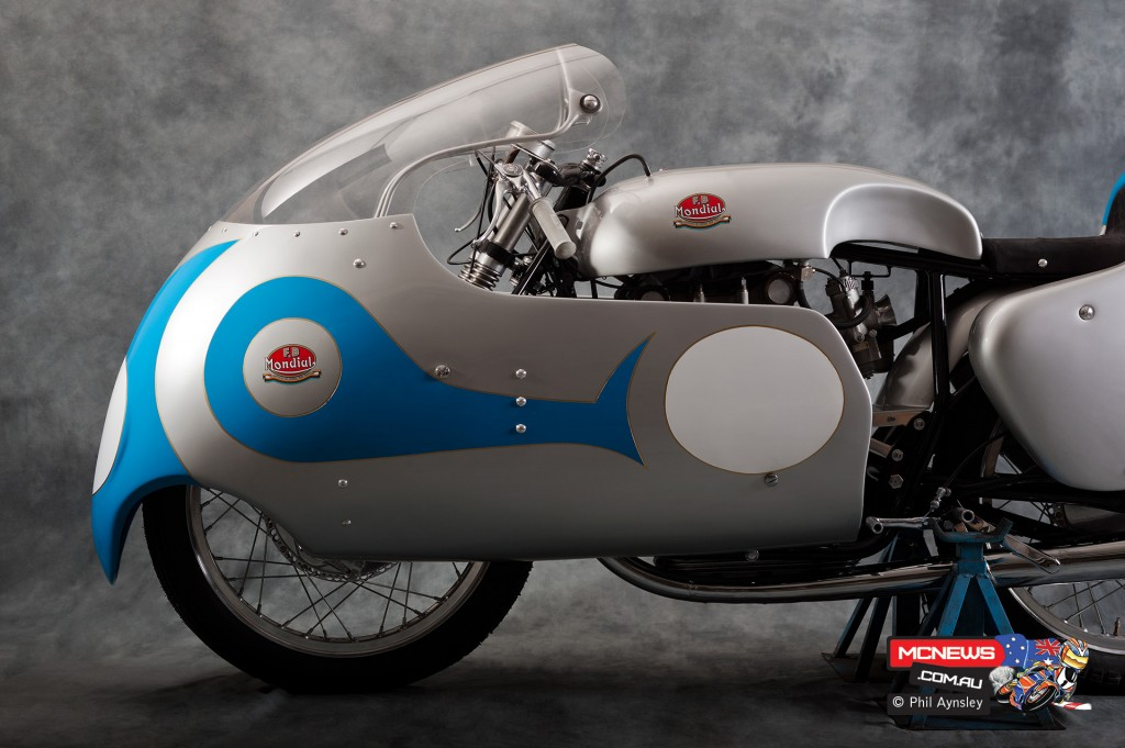 Tarquinio Provini's 1956 250 F.B Mondial. He finished second in the '57 championship to team mate Cecil Sandford on this machine. By Phil Aynsley