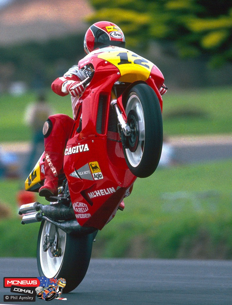 Ever the showman! Randy Mamola during practice at Phillip Island in 1989. By Phil Aynsley