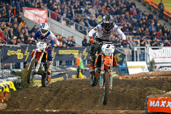 KTM's Cody Webb (USA) secures a dramatic victory inside the Atlas Arena at round one of the 2015/16 in Lodz, Poland.
