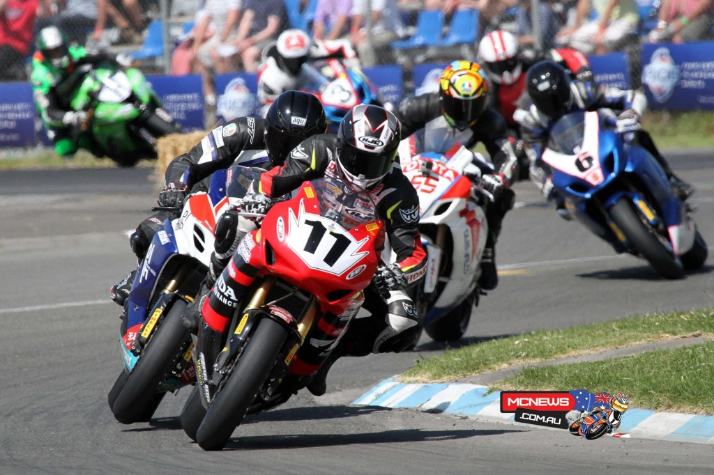 The racing was this close last year. Tony Rees leads Scott Moir in F1 Superbike race 2