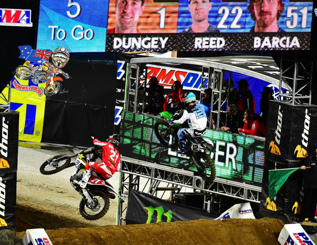 Anderson (left) was initially credited with third, but was later penalised and dropped to fifth - AMA SX 2016 - Round Two - San Diego - Image by Hoppenworld