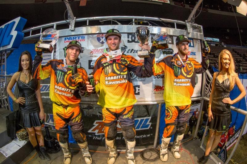 Faith (center) led his Team Babbitt's teammates Hayes (right) and Blose (left) to a 1-2-3 sweep in Cincinnati. Photo: ShiftOne Photography