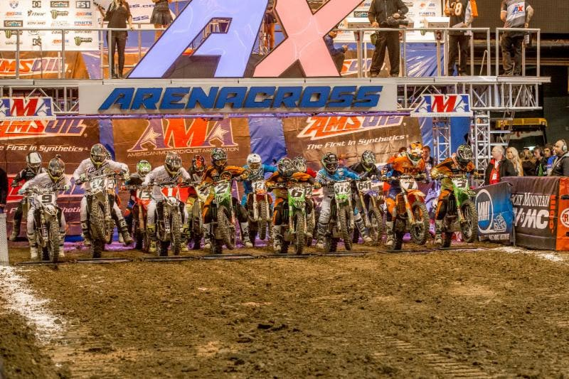 The Arenacross Class field launches out of the gate for the first time in 2016. Photo: ShiftOne Photography