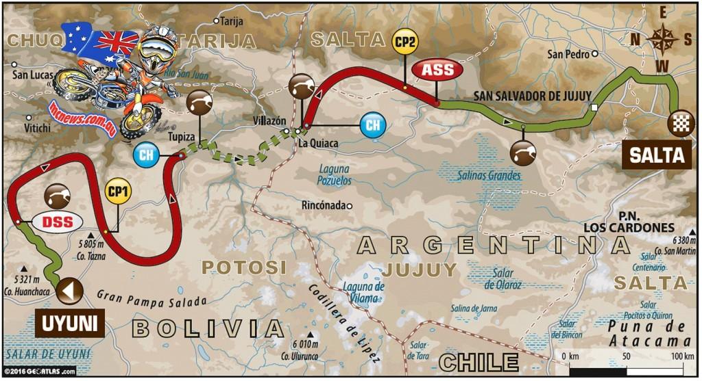 Dakar 2016 - Stage 8 Map