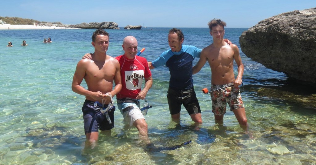 Jeremy McWilliams with friend Raymond Rooney and sons Zac and Jack off Perth - January 2016