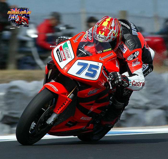 Josh Brookes won his first ever World Supersport race on his domestic Team Honda Racing Supersport CBR600RR fitted with a Japanese spec' engine in 2004 at Phillip Island