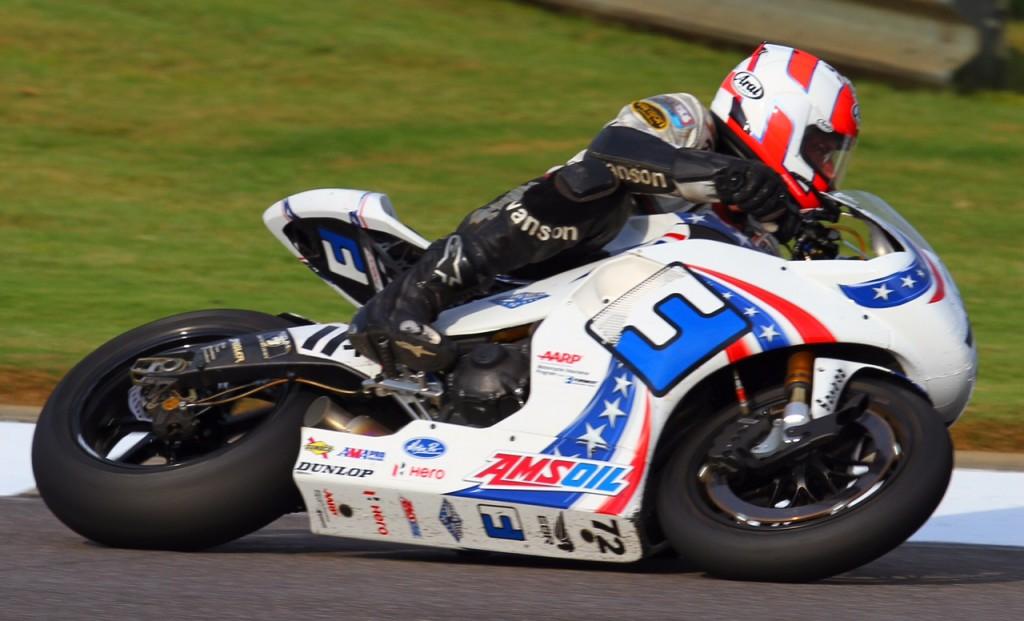 Pat Mooney seen here racing a Buell in the AMA Series