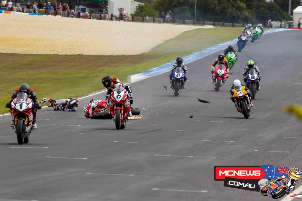 ASBK 2016 - Round One - Race One - Phillip Island - Jamie Stauffer crash