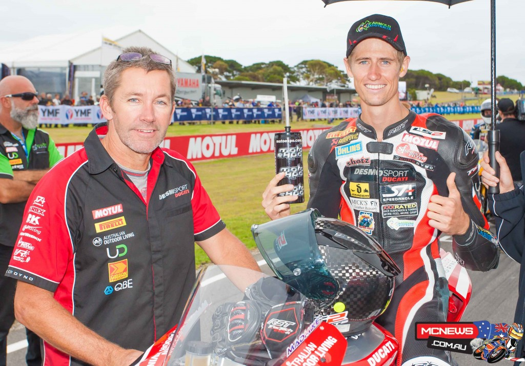 Troy Bayliss with Mike Jones - ASBK 2016 - Round One - Phillip Island - Image by Cameron White