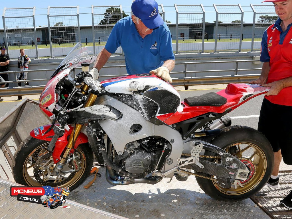 Australian Superbike Test - February 2016 - Phillip Island - Image by Mark Bracks - Jamie Stauffer's crashed Fireblade SP
