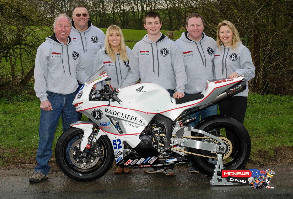The Cowton Racing by Radcliffe's 2016 outfit. James Cowton (centre), with sponsors Chis and Sherrie to his left.