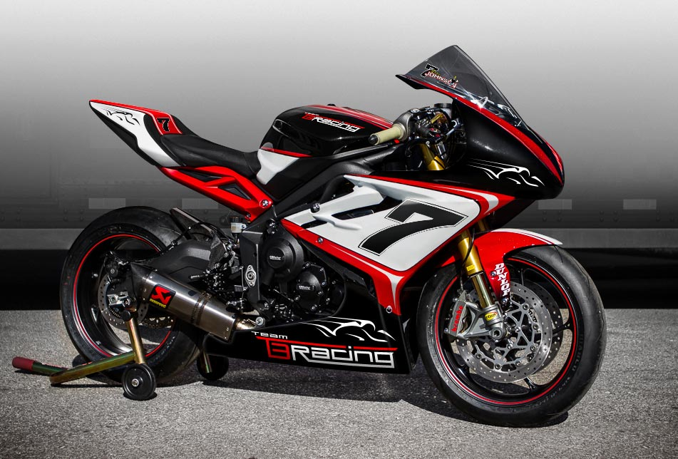 The striking red, white and black livery of the Team T3 Racing Triumph Gary Johnson will race at TT 2016