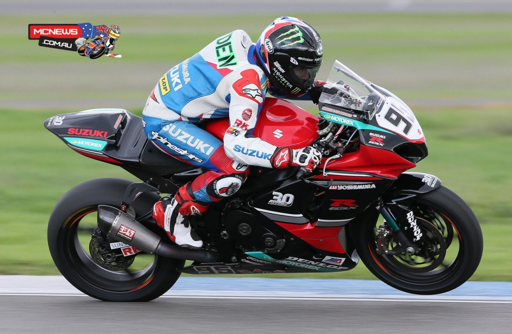 Yoshimura Suzuki's Roger Hayden's test was hampered by illness that kept the Superbike racer off-track for the most part on day two. Photo by Brian J. Nelson.