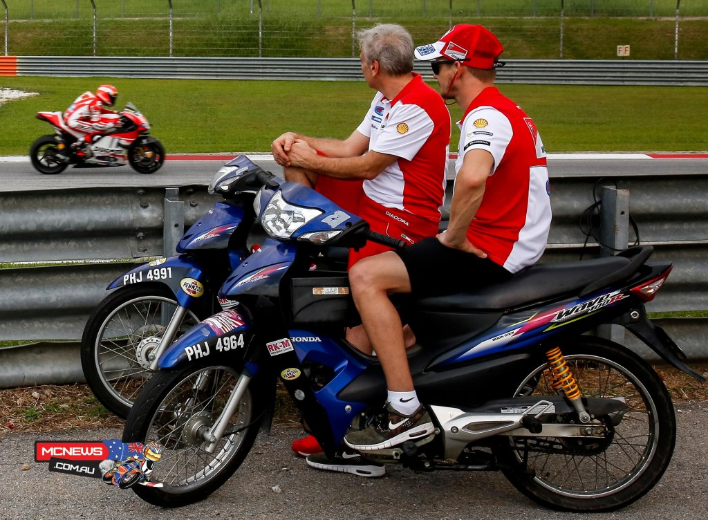MotoGP Sepang Test 2016 - Casey Stoner and Davide Tardozzi watch Michele Pirro in action