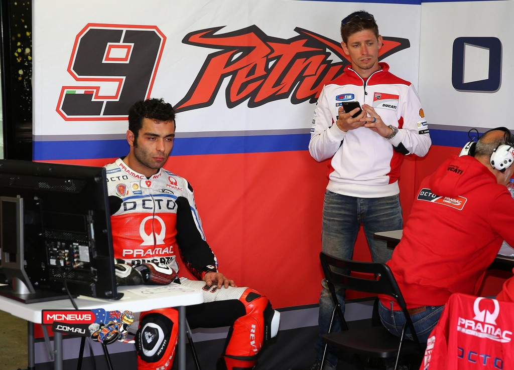 Casey Stoner with Danilo Petrucci during MotoGP testing at Phillip Island