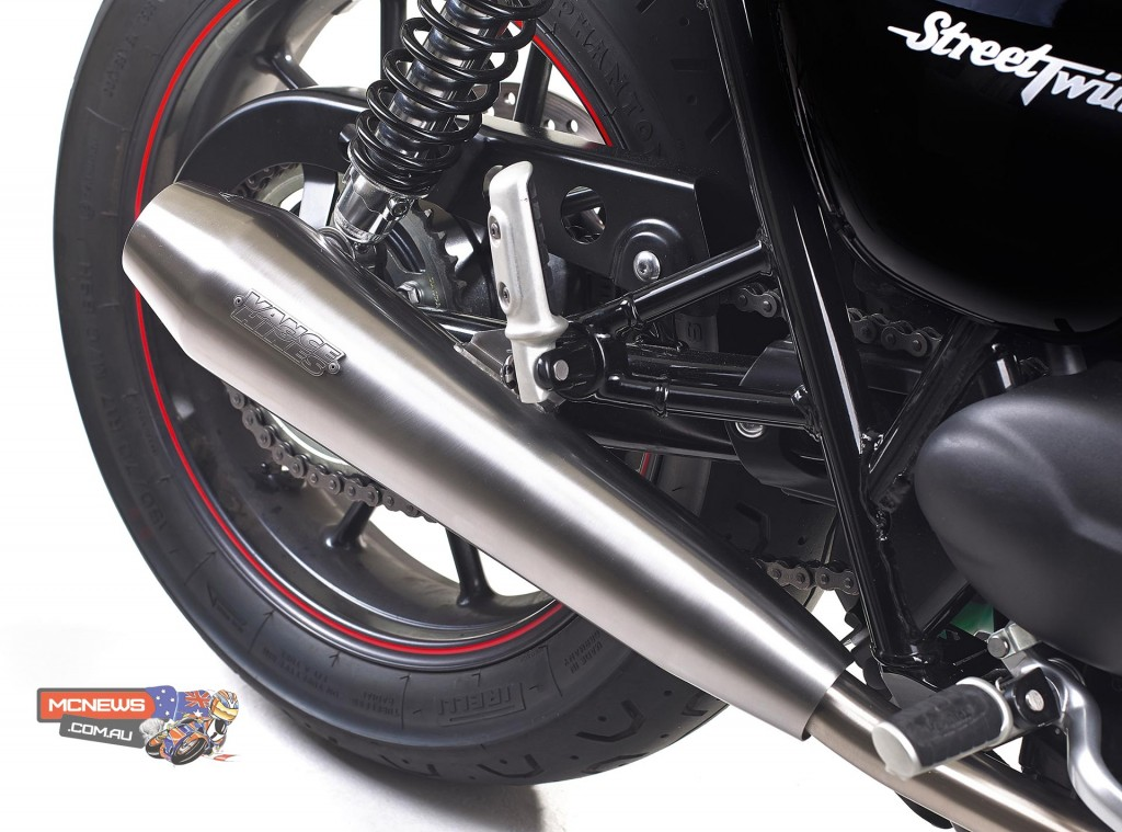 2016 Triumph Street Twin - Vance & slip on mufflers as featured in the 'Brat Tracker' and 'Urban' kits.