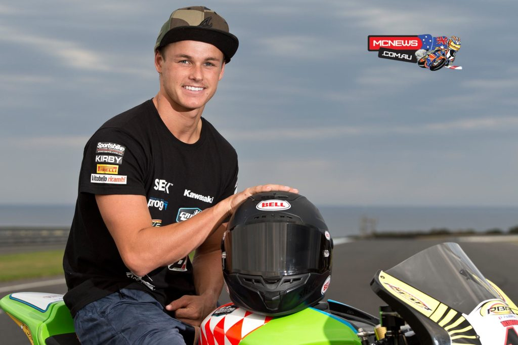 Josh Hook poses for the cameras at Phillip Island this week after dislocating his shoulder