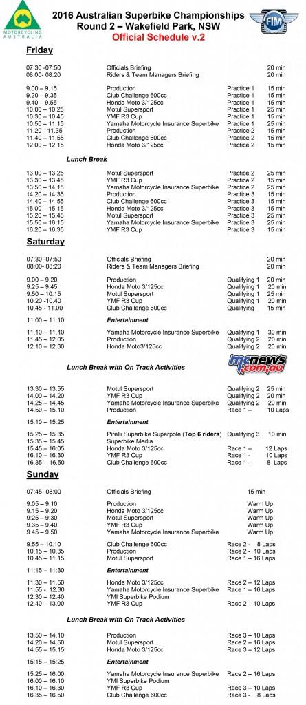 ASBK 2016 - Round Two - Wakefield Park - Schedule