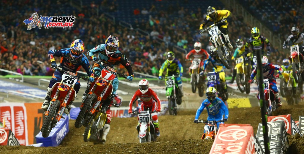 AMA Supercross 2016 - Round 11 - Detroit - Image by Hoppenworld - Ryan Dungey and Marvin Musquin lead the pack