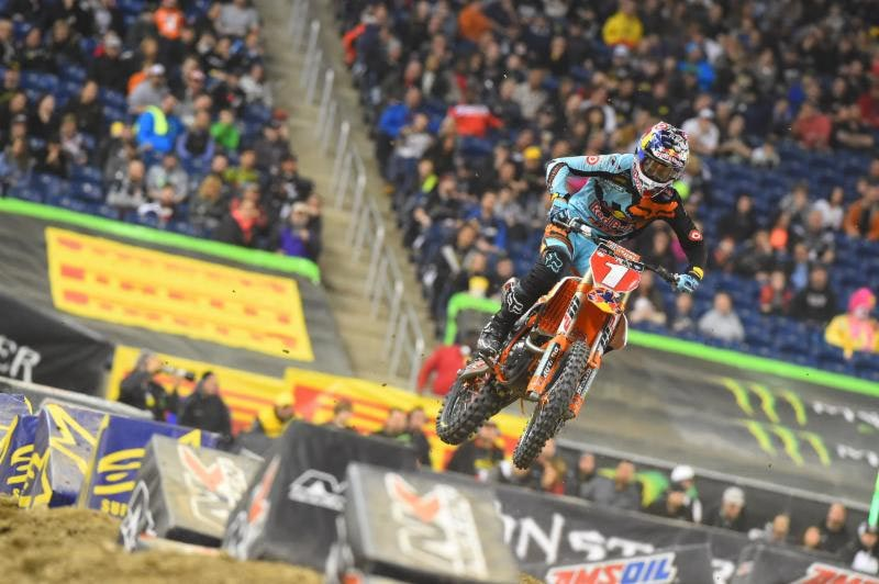 Ryan Dungey was penalized two positions to third. Photo Credit: Simon Cudby