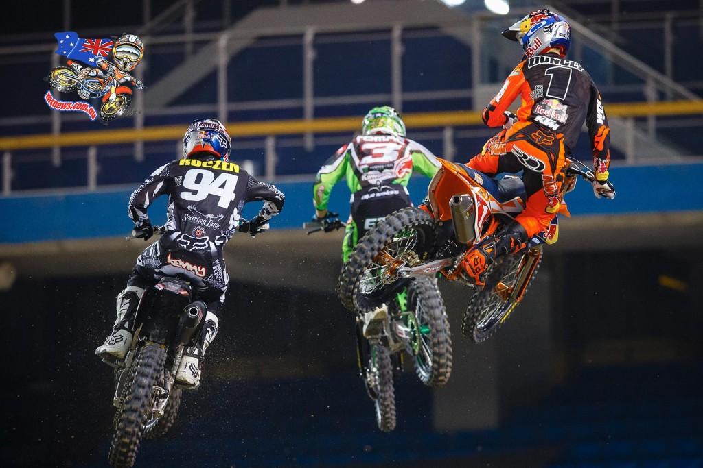 Ryan Dungey battles with Eli Tomac and Ken Roczen