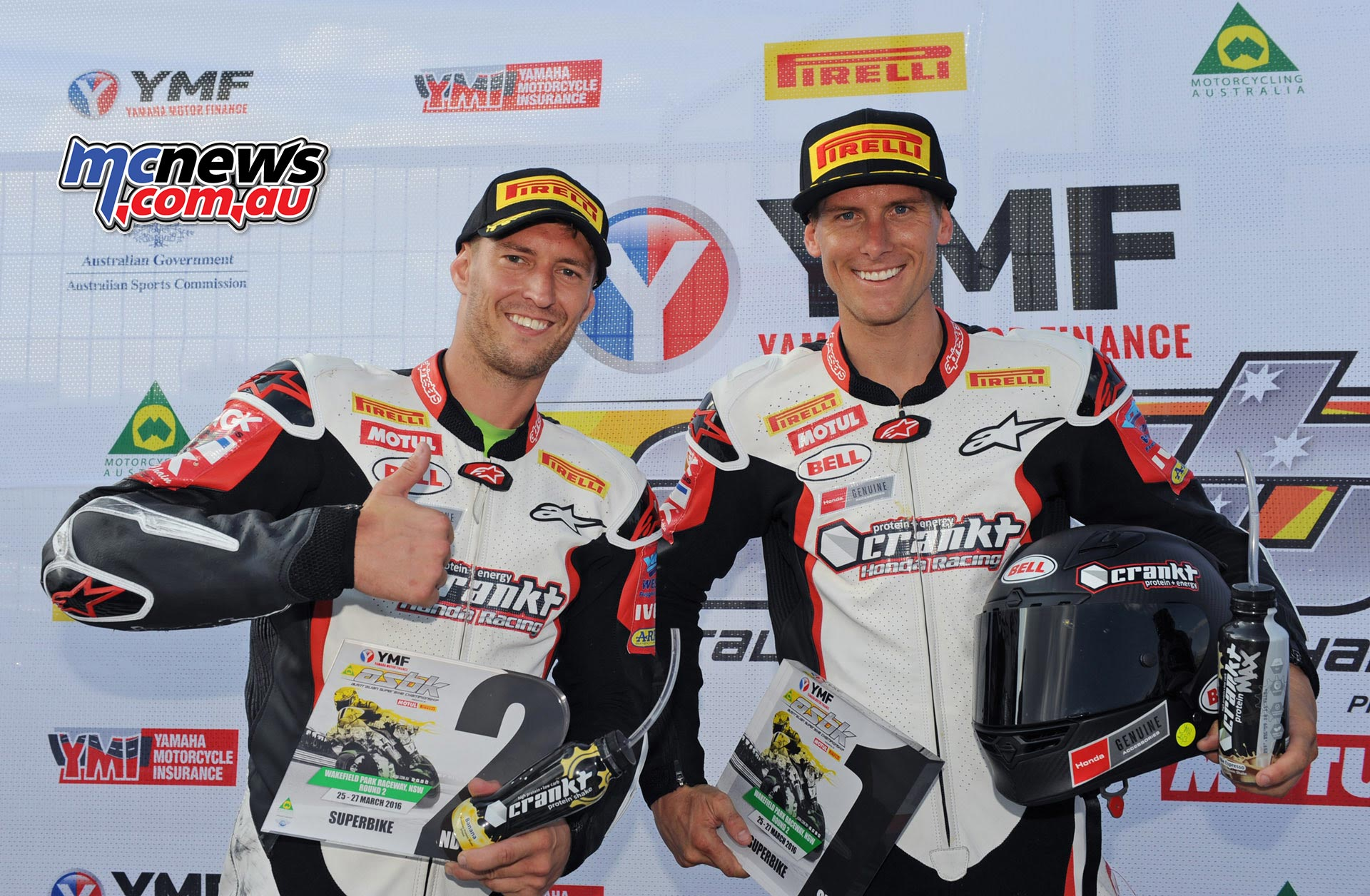 Troy Herfoss and Anthony West - Crankt Protein Honda Team - ASBK 2016 - Round Two - Wakefield Park