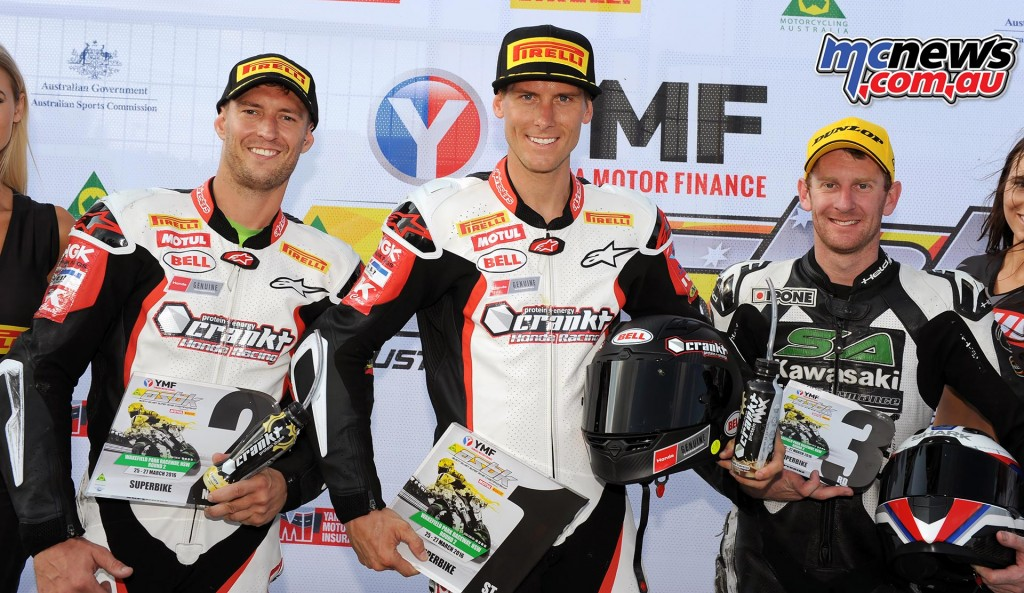 Anthony West, Troy Herfoss (1st) and Ben Burke - ASBK 2016 - Wakefield Park - Image by Keith Muir
