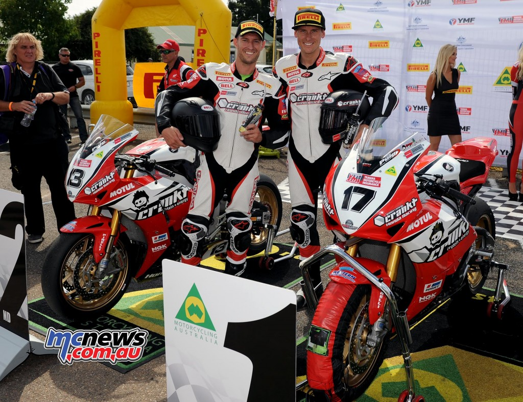 Crankt Protein Honda - Anthony West and Troy Herfoss - ASBK 2016 - Wakefield Park - Image by Keith Muir
