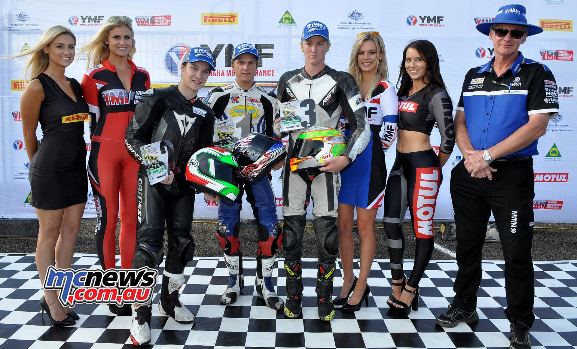 Yamaha YZF-R3 Podium - Winner Zac Levy; Callum Alderson 2nd and Hunter Ford 3rd - ASBK 2016 at Wakefield Park