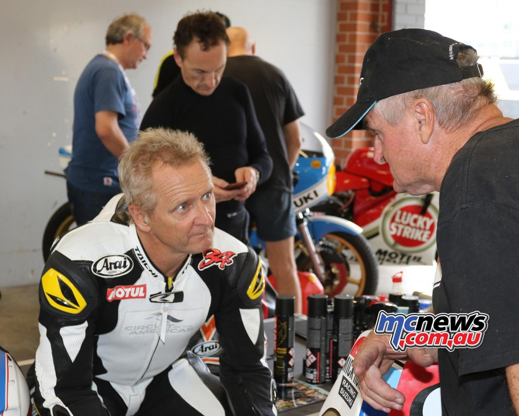 Kevin Schwantz and Robbie Phillis - Barry Sheene Festival of Speed 2016 - Image by Mark Bracks