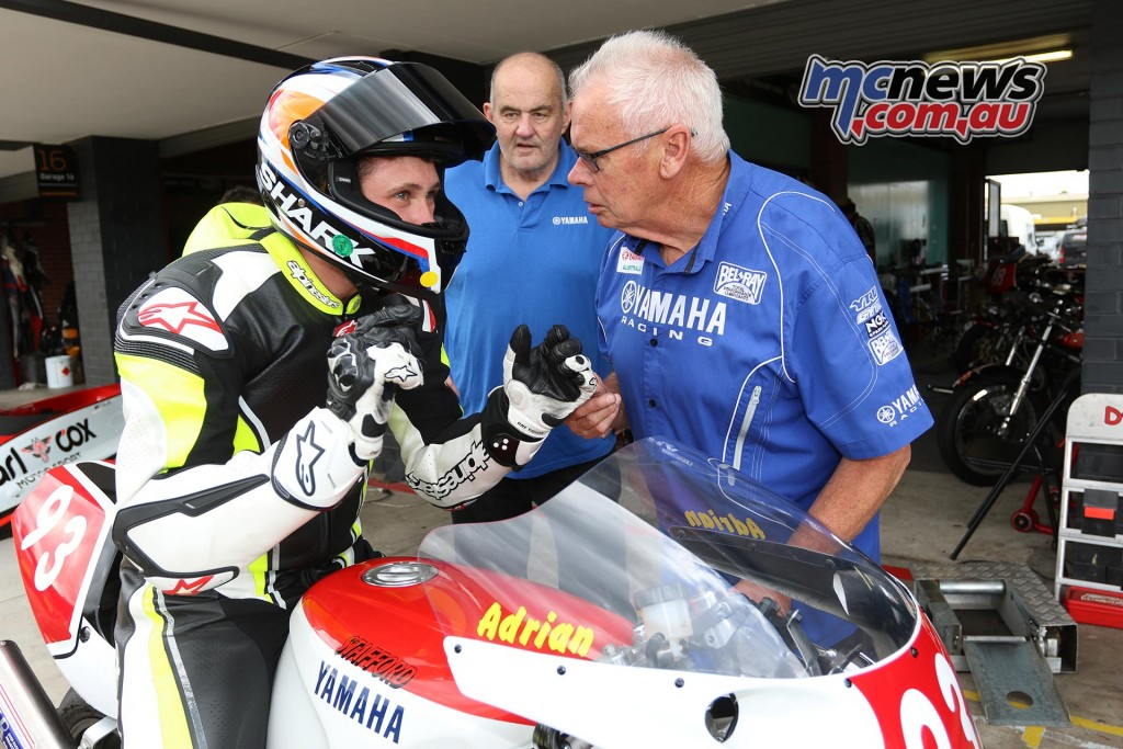 Don Stafford talking to grandson - Barry Sheene Festival of Speed 2016 - Image by Mark Bracks
