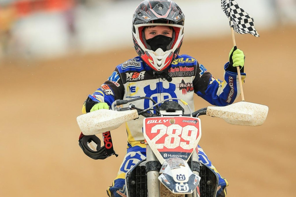 Thirteen-year-old Husqvarna Factory Support racer Billy Van Eerde confirmed why he is considered one of Australia's hottest junior prospects when he won two more Aussie championships at the weekend's Australian Dirt Track Championships in Brisbane.
