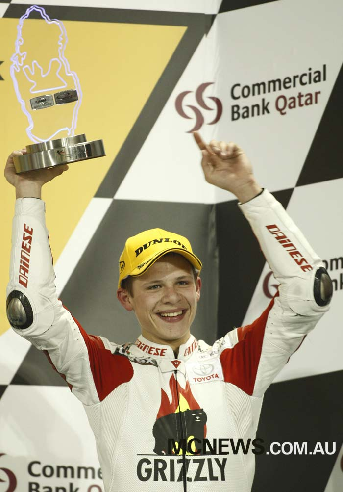 A young Stefan Bradl back at the first Qatar MotoGP in 2008