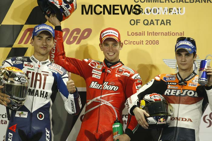 Casey Stoner won the first Qatar MotoGP back in 2008 from Jorge Lorenzo and Dani Pedrosa