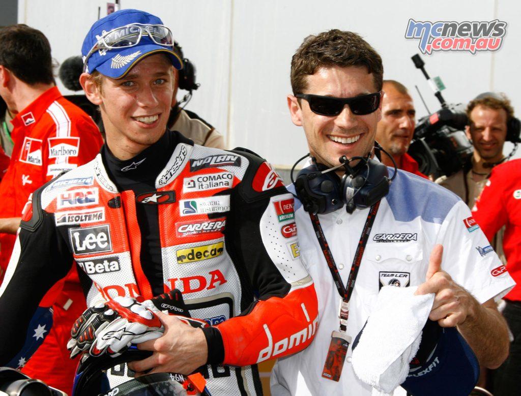 Lucio Cecchinello (LCR) and Casey Stoner