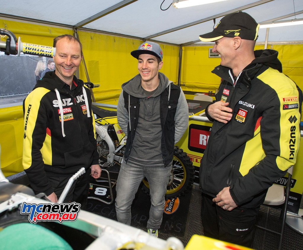 Suzuki MotoGP rider Maverick Vinales dropped into the MXGP tent and is seen here with Stefan Everts