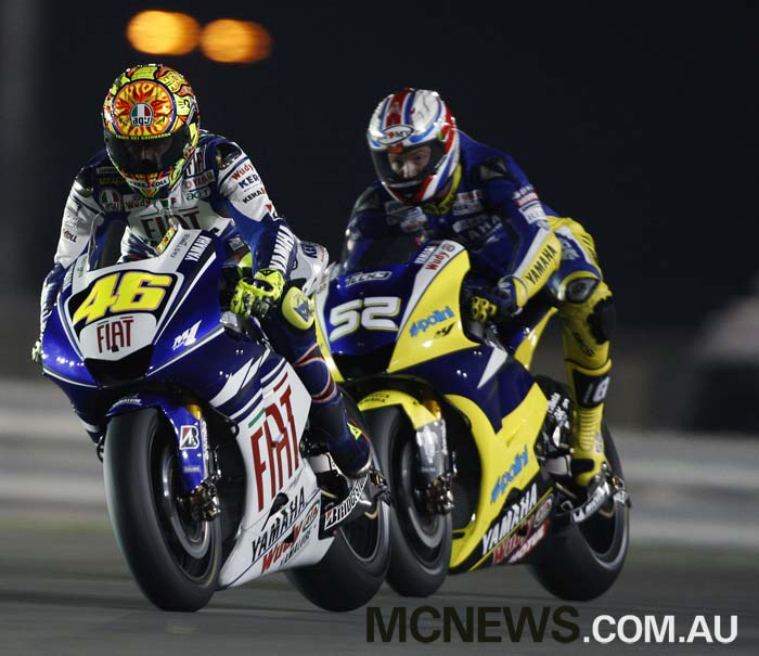 Valentino Rossi battles over fifth place with James Toseland at the first Qatar MotoGP in 2008. Rossi took that fifth position while Casey Stoner won the race from Jorge Lorenzo and Dani Pedrosa
