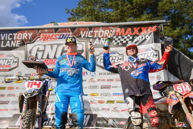 Strang and Russell on the podium