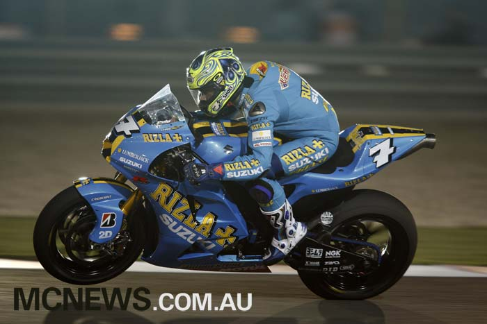 Chris Vermeulen at the first Qatar MotoGP night race back in 2008