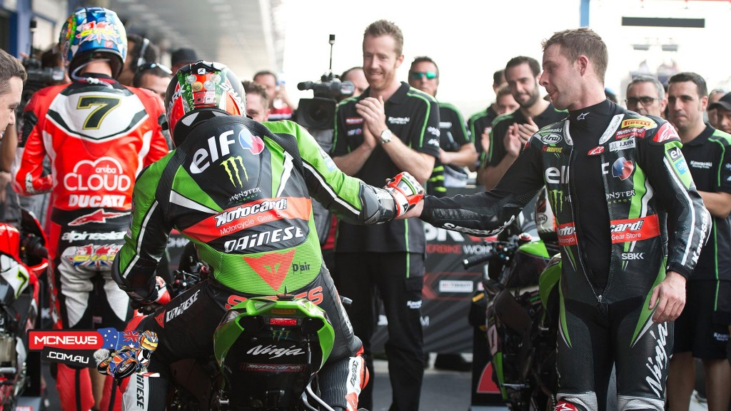WorldSBK 2016 - Round Two - Race Two - Jonathan Rea congratulates Tom Sykes for the race two win